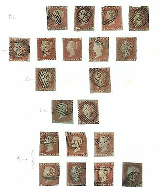 Lot:18500  GB QV   1841 1d red brown imperf selection