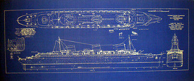 French Liner SS Normandie 1935 Print Blueprint Plan 13x30  (243)