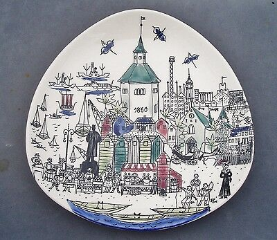 Stavangerflint Pottery Norway Unusual Plate With Song On The Back Inger Waage