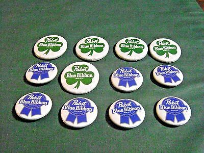 12 Pabst Blue Ribbon Beer Pin Back Advertising Buttons