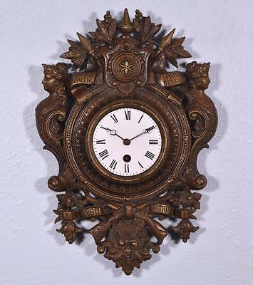 Antique French Cast Iron Wall Clock Complete & Running