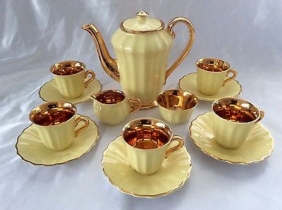 WADE ENGLAND 16 piece TEA COFFEE SET YELLOW & GILT LUSTRE vintage retro 1950's