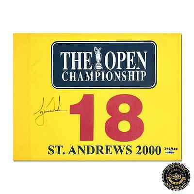 Tiger Woods Autographed/Signed 2000 British Open Pin Flag - Yellow