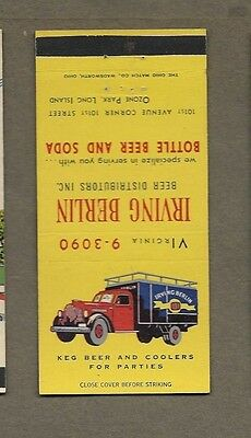 Irving Berlin Beer & Soda Dist Ozone Park Long Island 30 Stick Matchcover A424