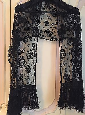 Vintage black lace Devore burnout shawl/wrap/stole/scarf