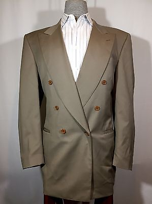 Men's Canali Gray 2pc Wool Suit Double Breasted 44R Made in Italy