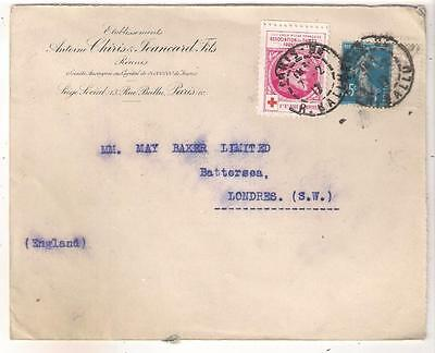 26361 FRANCE 1917 cover to GB with Red Cross label