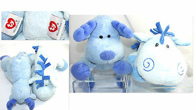 2 Ty Pluffies Soft Blue Baby Plush Winny Pony Horse + Bloose Moose Tylux