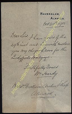 1915 William Hardy (Fishing) Letter from RAVENSLAW HOUSE, ALNWICK