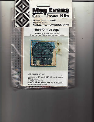 Meg Evans Plastic Canvas Tapestry Kit Needlwork Hippo Picture Cut Above Kits