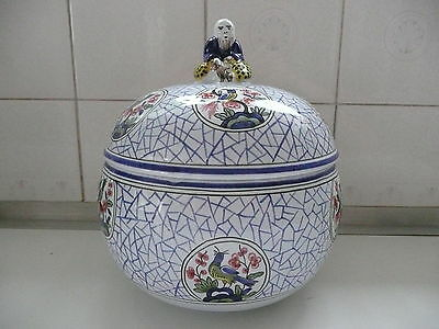 Hand painted French Faience ware bowl / jar with cover made for Tiffany & Co