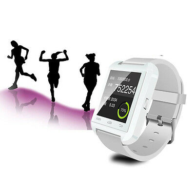 Weiß Smart Bluetooth Wrist Watch Phone Mate Smart U-Uhr Plus For IOS Android DED