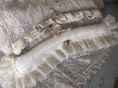 ~*Two Lace & Floral Fabric Padded Clothes Hangers*~