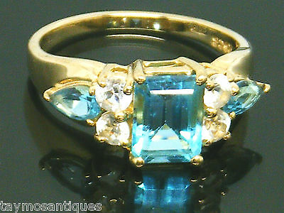 9ct Gold 9k Gold Heavy Blue & white topaz ring size N Boxed Hallmarked