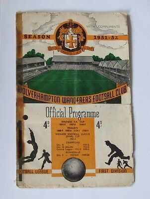 1951/52 Wolverhampton/Wolves Res v Manchester United Reserves. Central League.