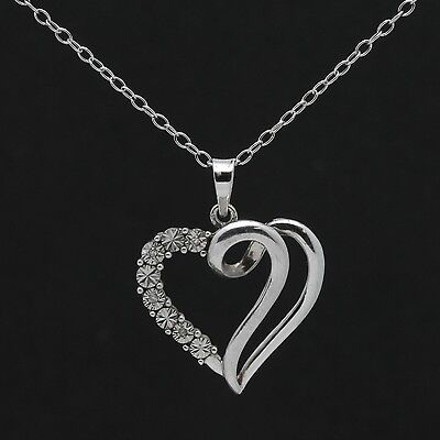 Sterling Silver Illusion-Set Diamond Accent Heart Pendant Necklace