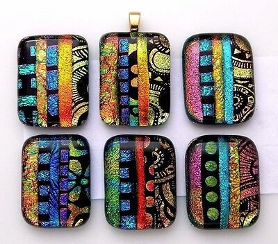 Lot 6 pcs RECTANGLE multi color DICHROIC FUSED GLASS pendant (D8) CABOCHON