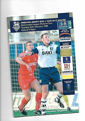 Prestron North End  v  Carlisle United, 24th February 1998