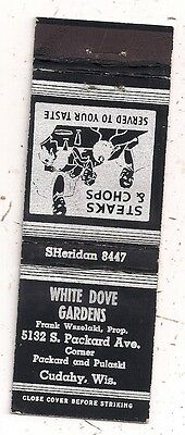 White Dove Gardens 5132 S. Packard Ave. Cudahy WI Frank Wszelaki Matchcover 1016