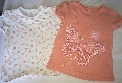 George Girls Pack Of 2 T-shirts Butterfly Flowers Excellent Condition