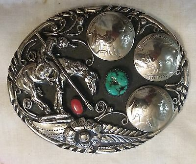 USA Hand Made Horse Indian Head Coin Silver, Turquoise, Coral Belt Buckle