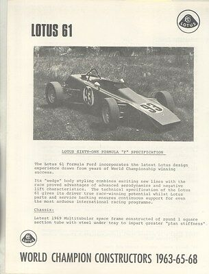 1969 Lotus 61 Formula F Race Car US Brochure ww5012