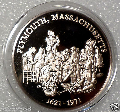 Pilgrims 1st Thanksgiving w/ Indians Plymouth MA Massachusetts NICE Bronze Medal