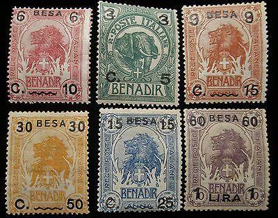 Italian Somaliland, 1922, SC 22-27, lot of 6 surcharged stamps of Benadir, MLH