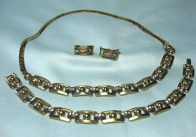 EB Convertible Necklace Bracelet Earrings  w Rhinestones