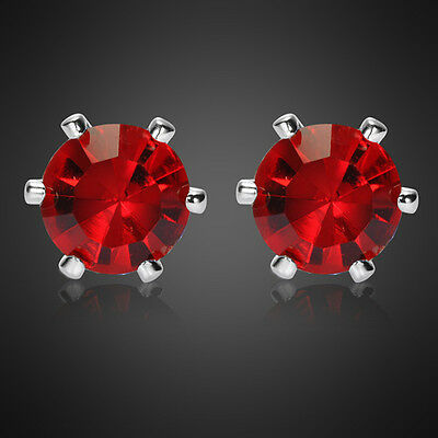 Sale! Lady Gift Round Red Ruby Garnet White Gold Plated Gp Stud Earrings Gift