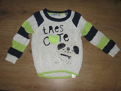 SO CUTE Girls Navy/White/Lime DOG Jumper Top ~ 18-24mths ~ GEORGE ~ VGC
