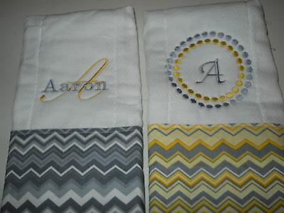 Personalized Appliqued or Embroidered Baby Burp Cloths set of three  boy