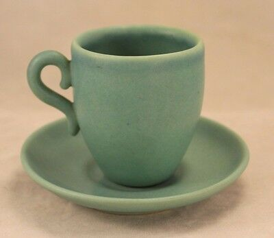 VAN BRIGGLE Art Pottery - Turquoise Cup and Saucer - Signed - Colorado Springs