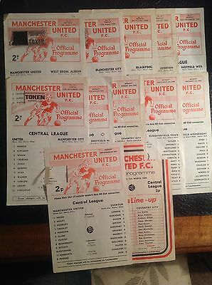 12 Manchester United Single Sheet Reserves Central League Programmes 1968 - 1979