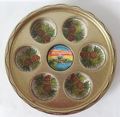 City Beautiful Buckingham Fountain Chicago Ill Round Tin Plate Tray Slotted