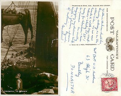 s08307 Cargo ship, Farewell to Orkney, Scotland postcard posted 1961 stamp