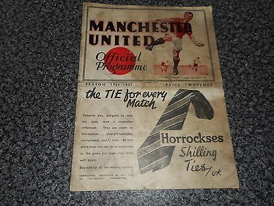*****MANCHESTER UNITED PRE-WAR  v  DERBY COUNTY *****1936/7  SCARCE *FREE POST*