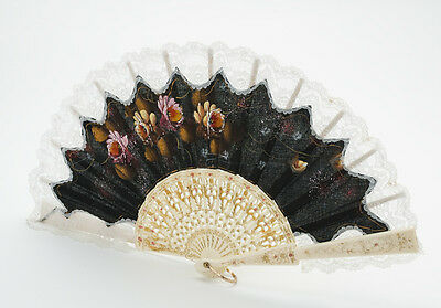 Vintage Spanish Fan Black Handpainted Floral Design w/ White Lace Opens to 44cm