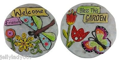 2 Garden Stepping Stones Cement-Welcome,Bless This Garden,Flowers,Butterfly-$70
