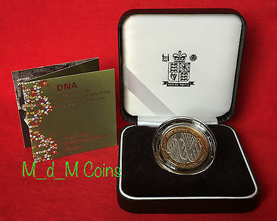 "2003 PIEDFORT SILVER Proof £2 Two Pound Coin ""DNA DOUBLE HELIX"" Black Case & COA"