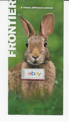 Frontier Airlines Ticket Jacket Cottontail Rabbit Airbus 319/a320 Route Map 2007