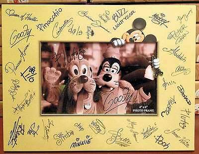 Disney Parks Mickey & Friends Character Autographs Signatures Photo Frame New