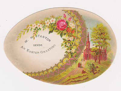 RARE 1800s EGG & CHURCH EASTER VICTORIAN SHOE TRADE CARD WH STANTON HONESDALE PA