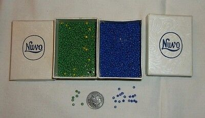 Vintage Small Blue & Green Beads For Threading As Pictured