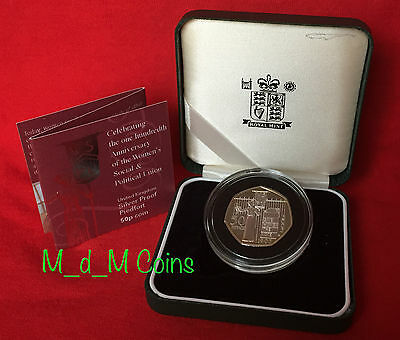 """2003 PIEDFORT SILVER PROOF Fifty Pence 50p Coin """"SUFFRAGETTES"""" Black Case & COA"""