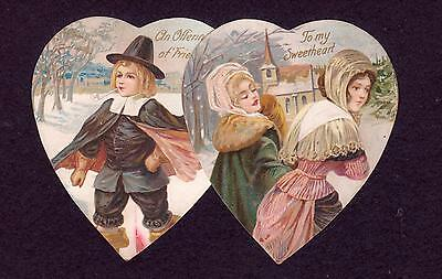Thanksgiving Love Pilgrims Ladies Die Cut Victorian Antique Vintage 1900s Card!!