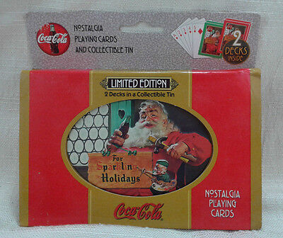 Coca Cola Nostalgia Playing Cards 2 Decks Collectible Tin Xmas 1998 Santa Claus