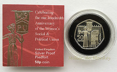 RARE 2003 Royal Mint SUFFRAGETTE 50p Fifty Pence Silver Piedfort Proof Coin