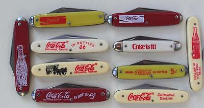 Vintage Coca Cola Pocket Knife Coke Is It Drink 5 Cent Bottles Enjoy Set of 10