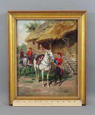 Antique RAYMOND DESVARREAUX Oil Painting, 18thC French Cavalry Military Soldiers